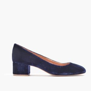 Madewell Ella blue velvet block heels (7)